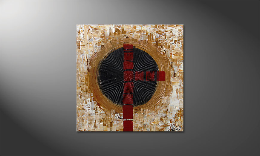 Hand-painted painting Squaring the Circle 80x80x2cm