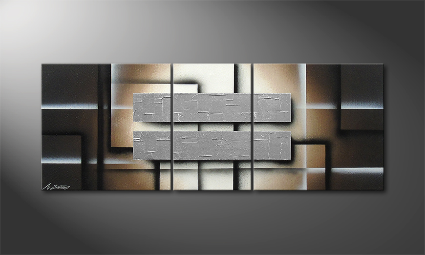 Living room art Silver Shine 130x50x2cm