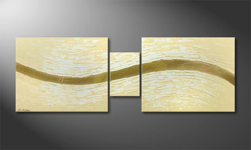 Modern Painting Golden Stream 140x50x2cm