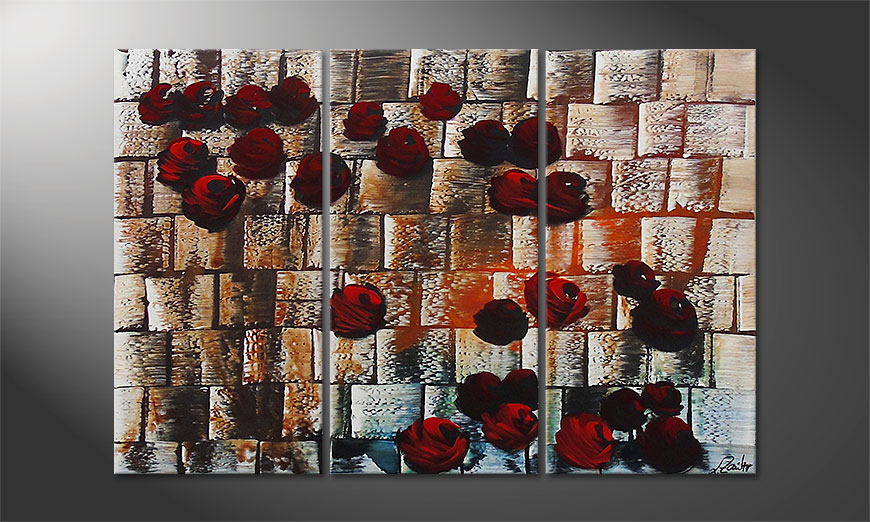 Hand painted painting Storm of Roses 120x80cm