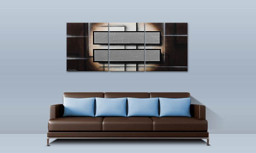 Modern Painting Silver Mirrors 170x70cm