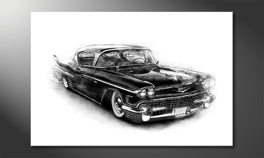 Art print Black Car