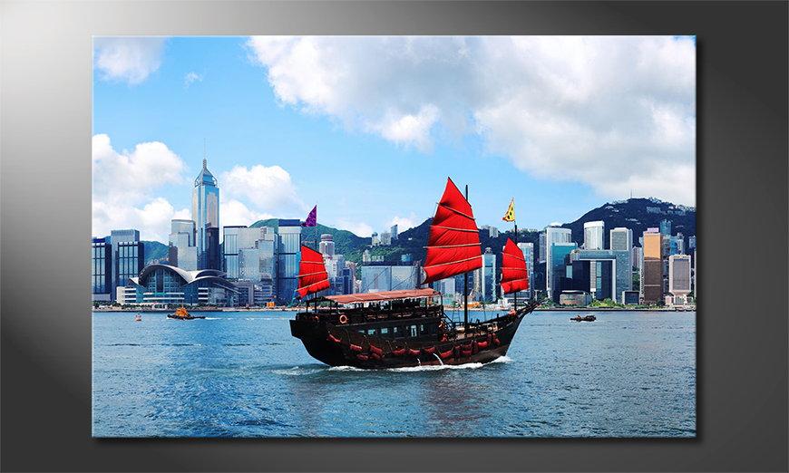 Art print Hongkong Boat