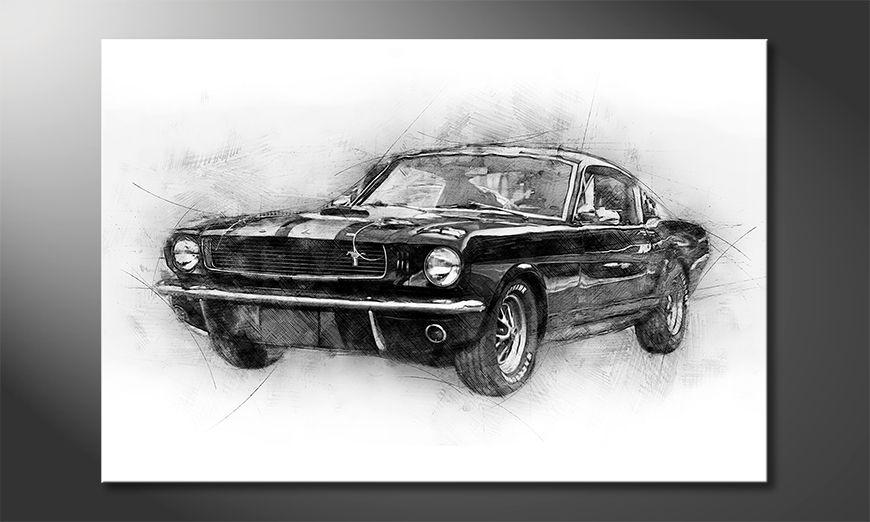Canvas art print Black Mustang
