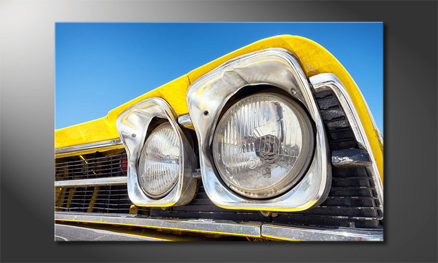 Canvas-print-Oldtimer-Headlights