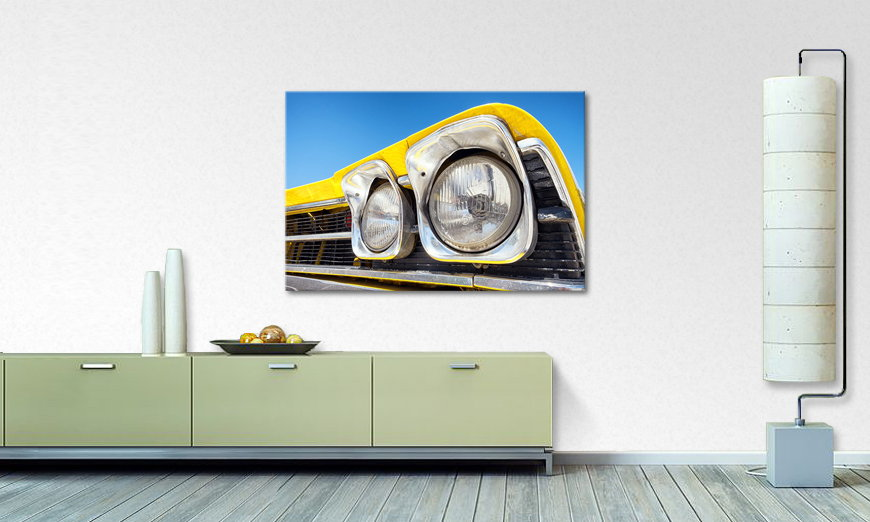 Canvas print Oldtimer Headlights