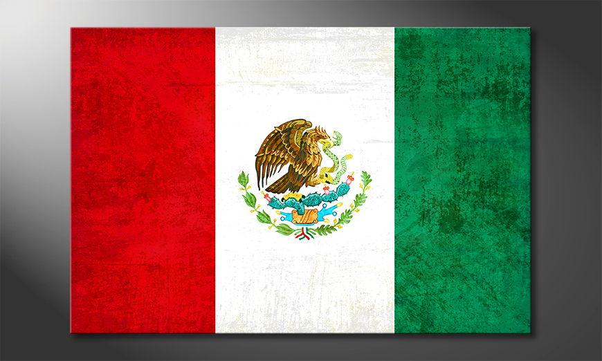 Flag on canvas: Mexico