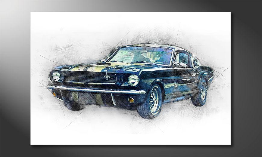 Modern Canvas print Black Mustang