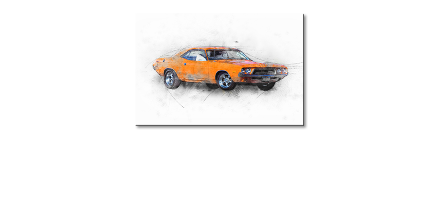 Modern-Canvas-print-Orange-Muscle-Car