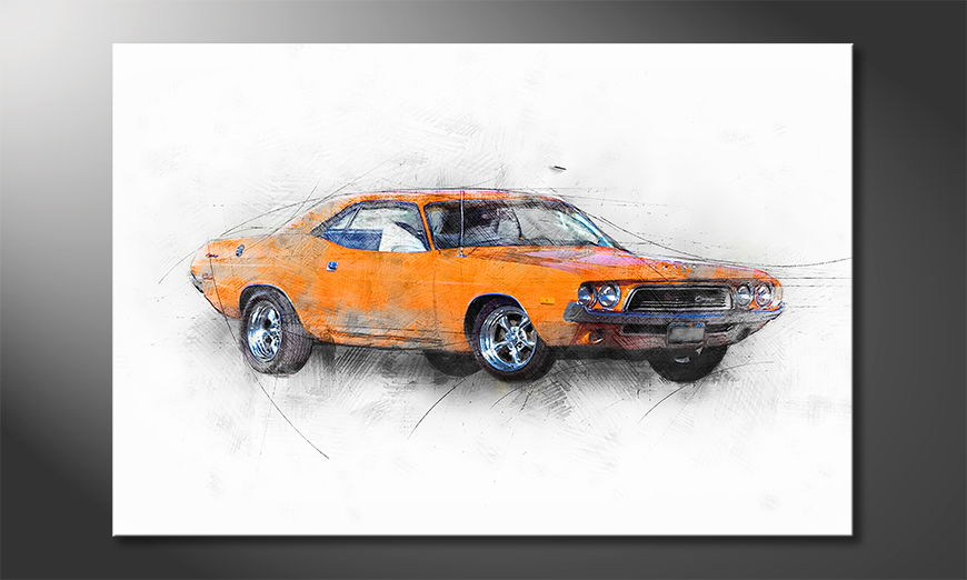 Modern Canvas print Orange Muscle Car