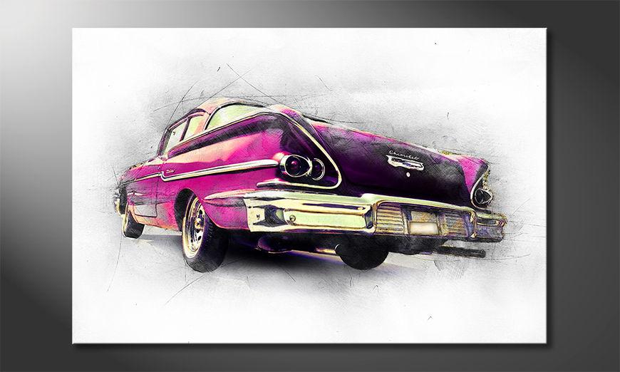 Modern Canvas print Pink Chevrolet