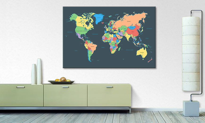Modern art print Colorful Map
