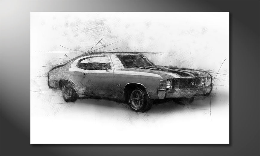 Modern art print Muscle Car