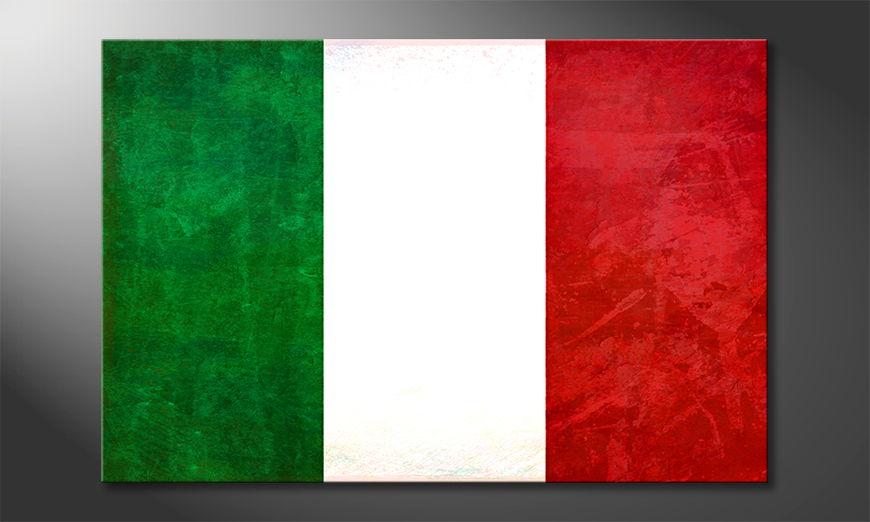 Modern flag on canvas: Italy