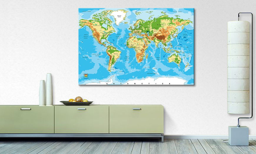 The modern art print Physical Worldmap