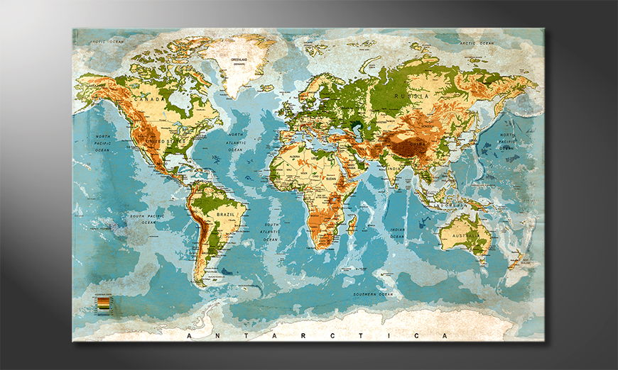 The modern art print Used Worldmap
