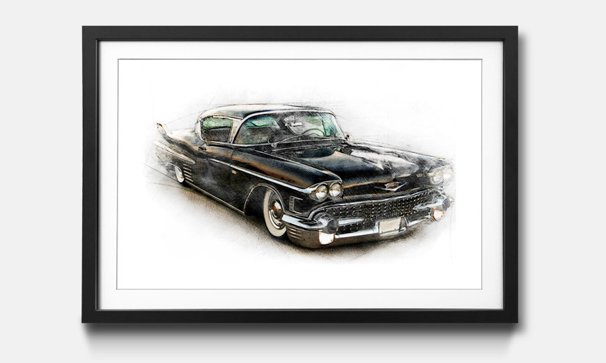 Framed picture Black Cadillac