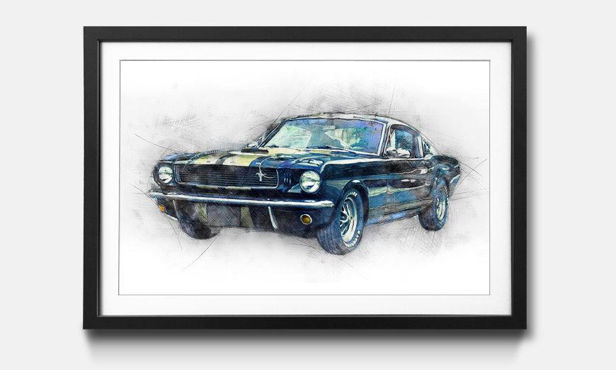 The framed art print Black Mustang