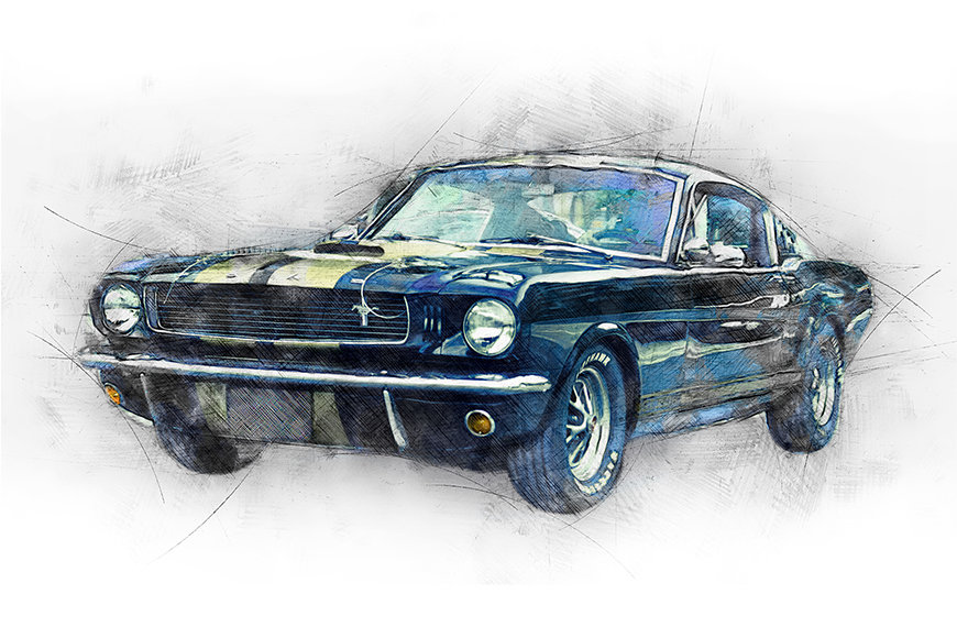 Photo-wallpaper Black Mustang