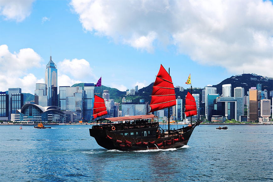 Photo-wallpaper Hongkong Boat from 120x80cm