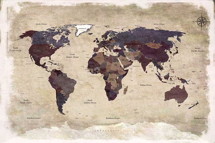 Photo wallpaper Old Worldmap 3 from 120x80cm