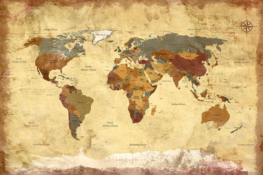 Photo-wallpaper Old Worldmap 4 from 120x80cm