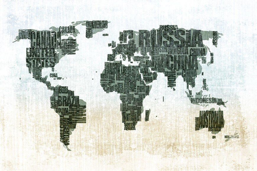 Photo-wallpaper Worldmap from 120x80cm