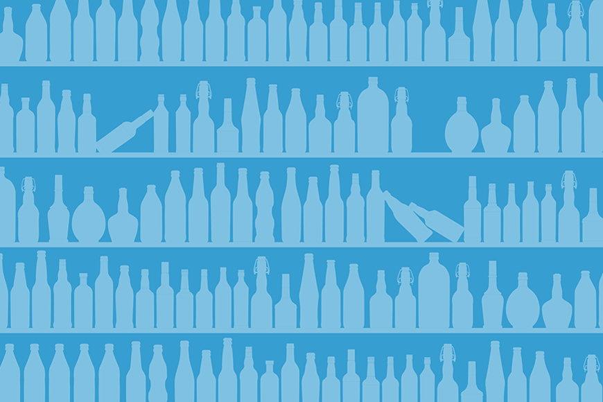 Wallpaper Blue Bottles from 120x80cm