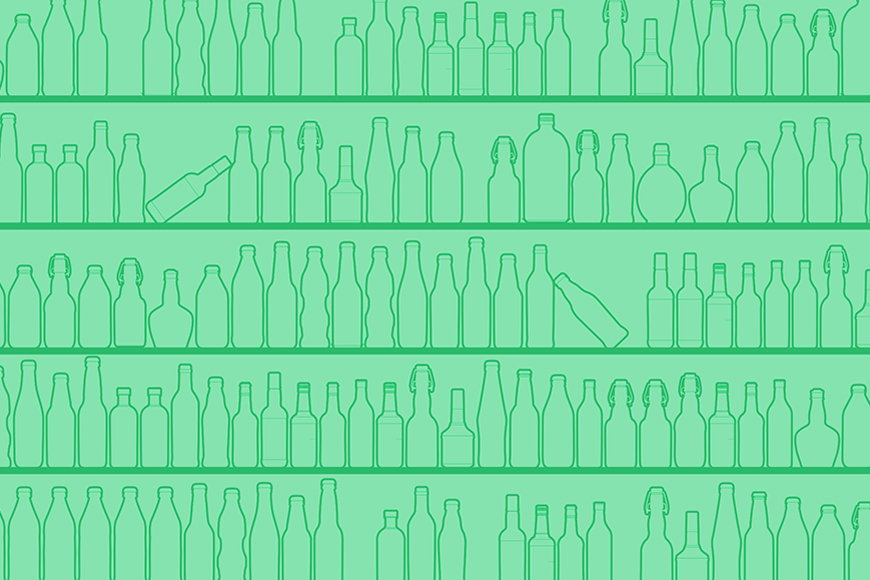 Wallpaper Green Bottles from 120x80cm