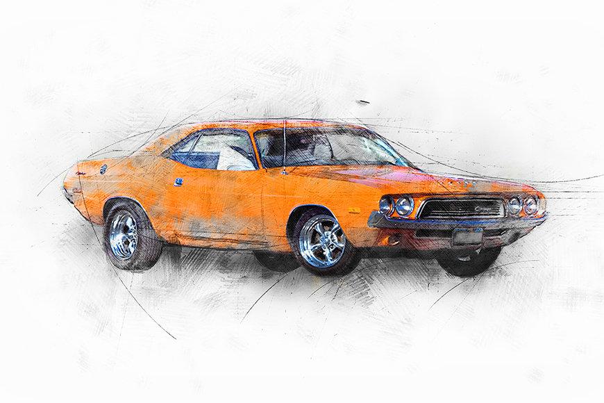 Wallpaper Orange Muscle Car
