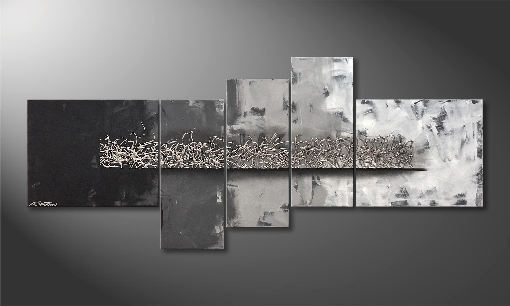 Set of 3 Abstract Art Prints of Paintings Black Grey and